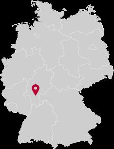 Deutschlandkarte mit Ortsmarker in Idstein